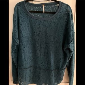 Free People Fleece Lace top